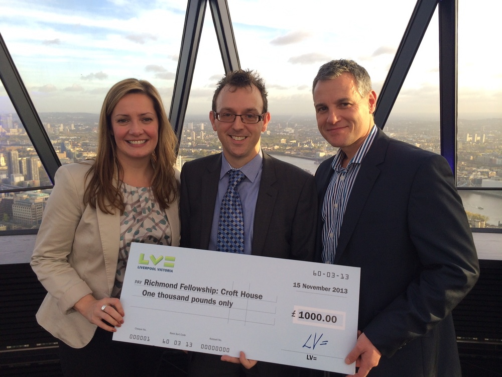 Justin Harper presents cheque to Richmond Fellowship, Croft House at the LV= Charities Lunch
