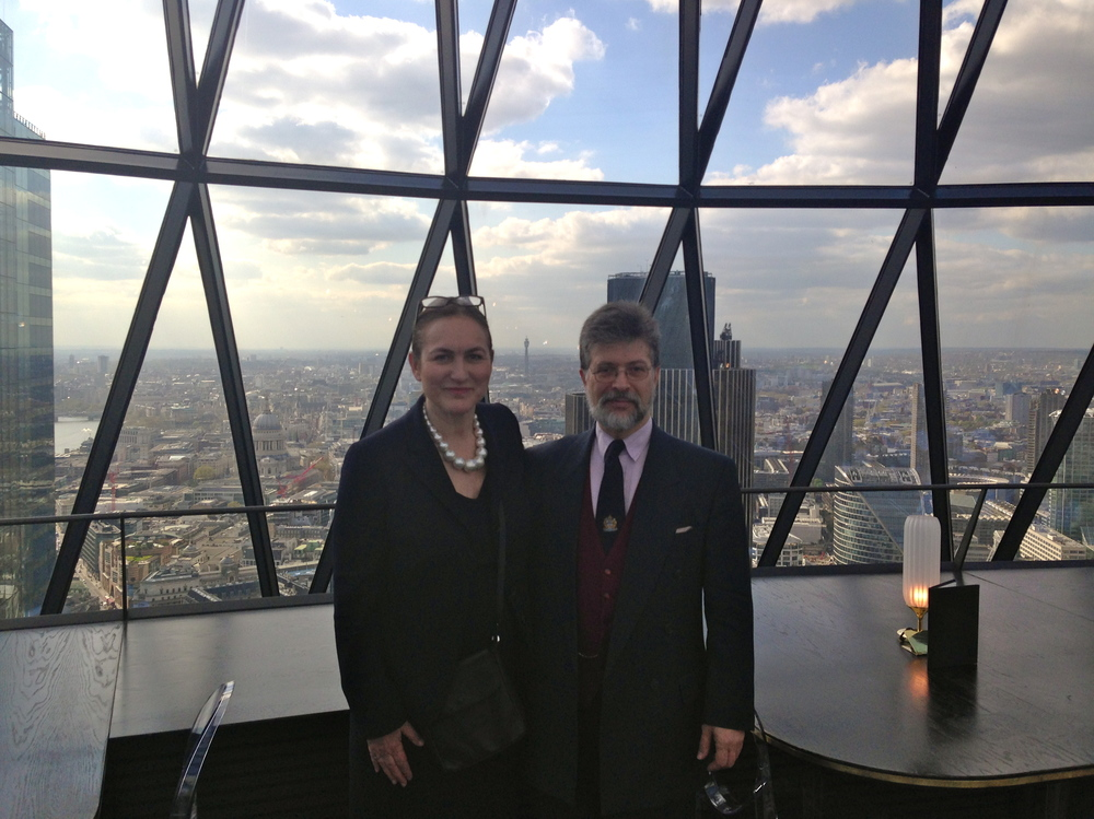 Jeffrey Blum visiting the top of the Gherkin on the 22nd anniversary of the Baltic Exchange bombing.