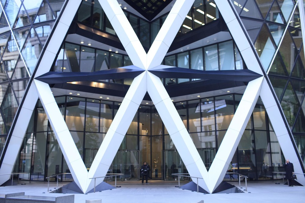 So, here's the entrance of the Gherkin normally - now imagine a long line of 7,000 people queuing to get in and you'll get the London Open House picture (I didn't take one - too busy talking to people!)