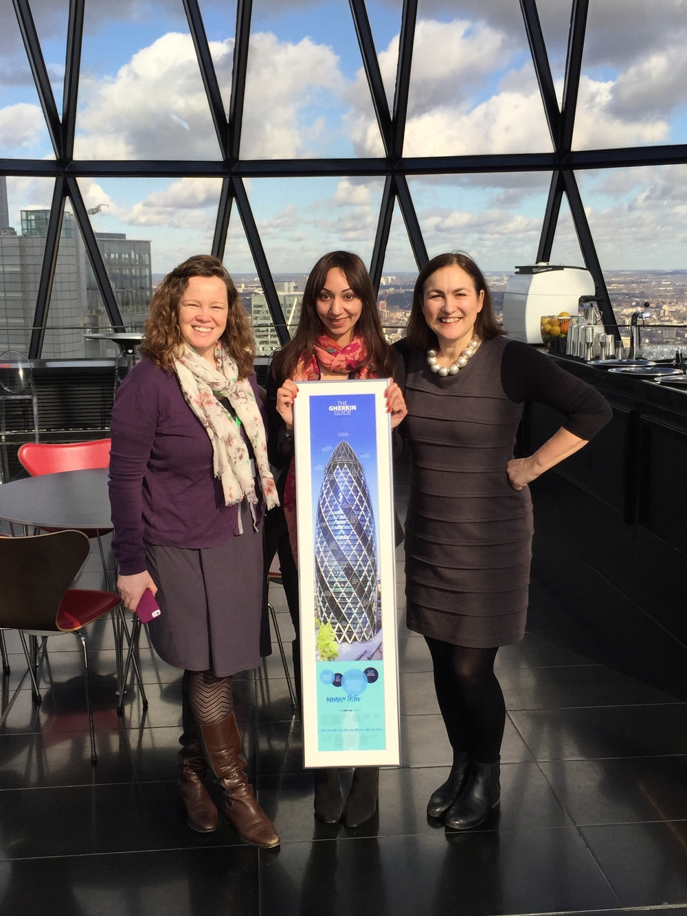 Presenting last year's Individual Top Fundraiser, Barinder Randhawa, with her Norman Foster signed print. Gherkin Challenge 2014. Will it be you this year?