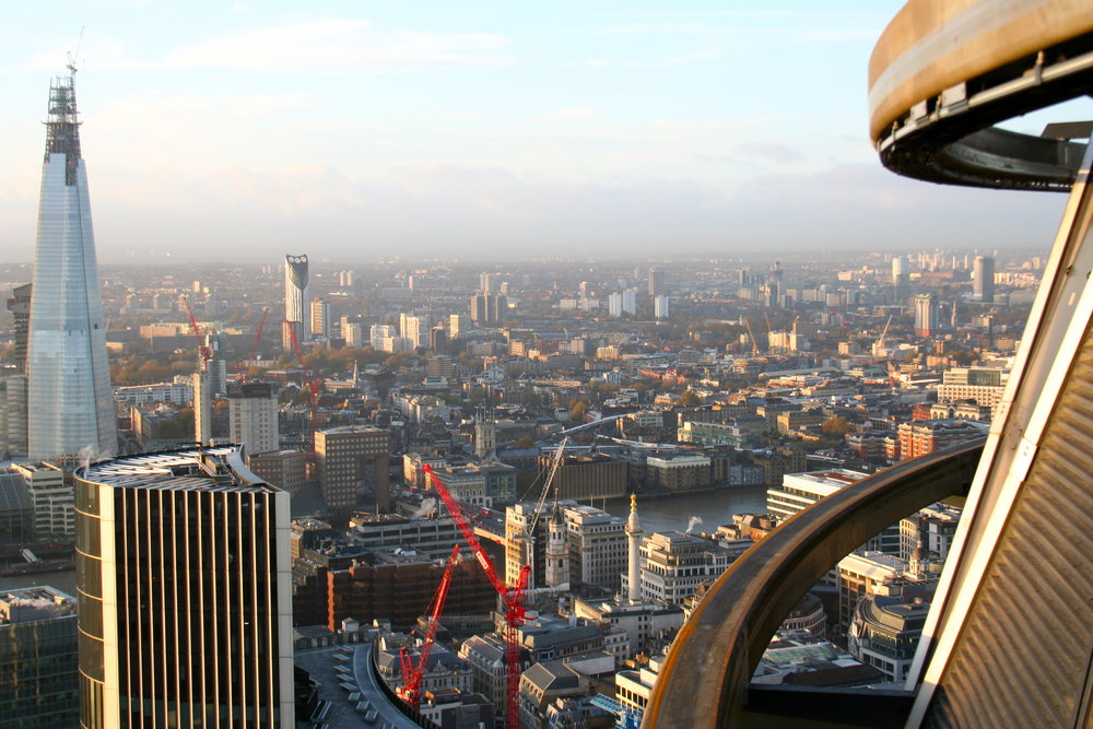 Standing in the sky OUTSIDE The Gherkin – circumnavigating the building with the window cleaners.