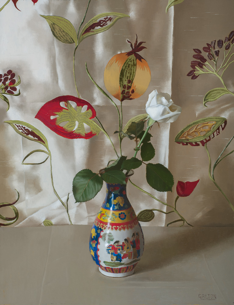 Chinese Vase with White Rose