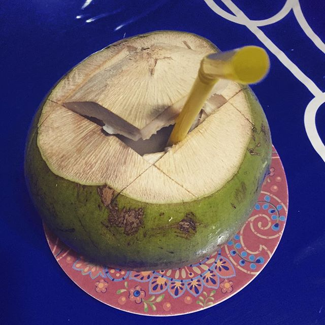 My second coconut today. Refreshing and tasty.#coconut #thirsty #dinner #sukhumvit #lunch
