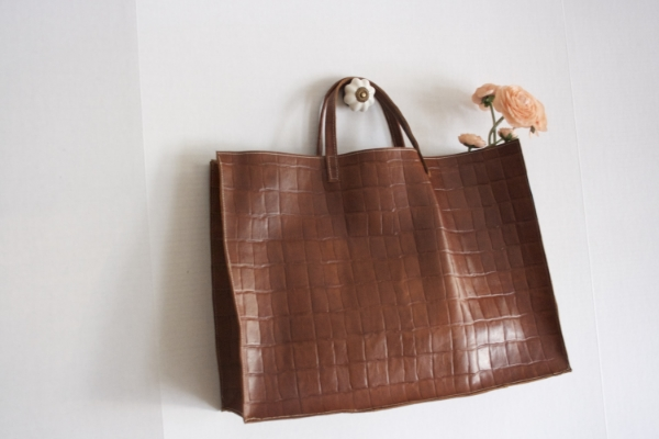 Brown Croc Tote -- NestingDoll.