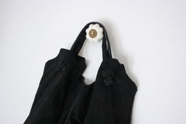 Black Suede Tote -- NestingDoll.