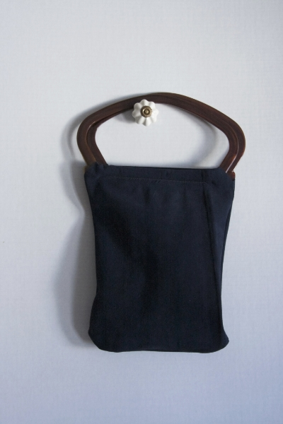 Navy Suede Bag -- NestingDoll.