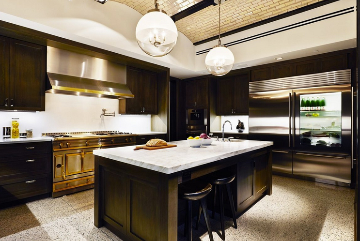 Lovely dark kitchen with beautiful ceiling detail