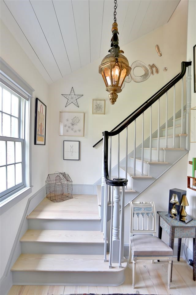 Alfalfa House Stairs. Love the wood!