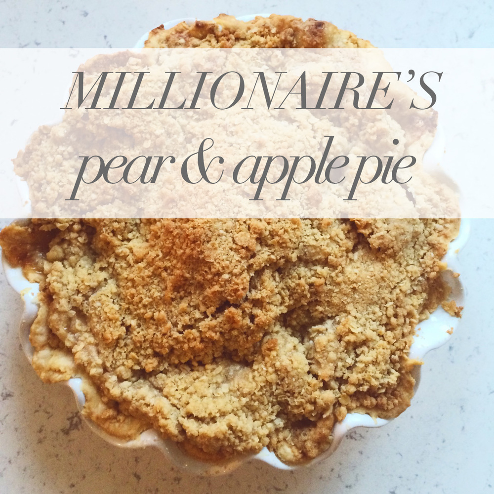 the best pear and apple pie with crumble topping
