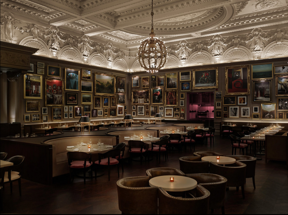 Berners Tavern at The London Edition Hotel. Loving the light fixture and cozy mood.