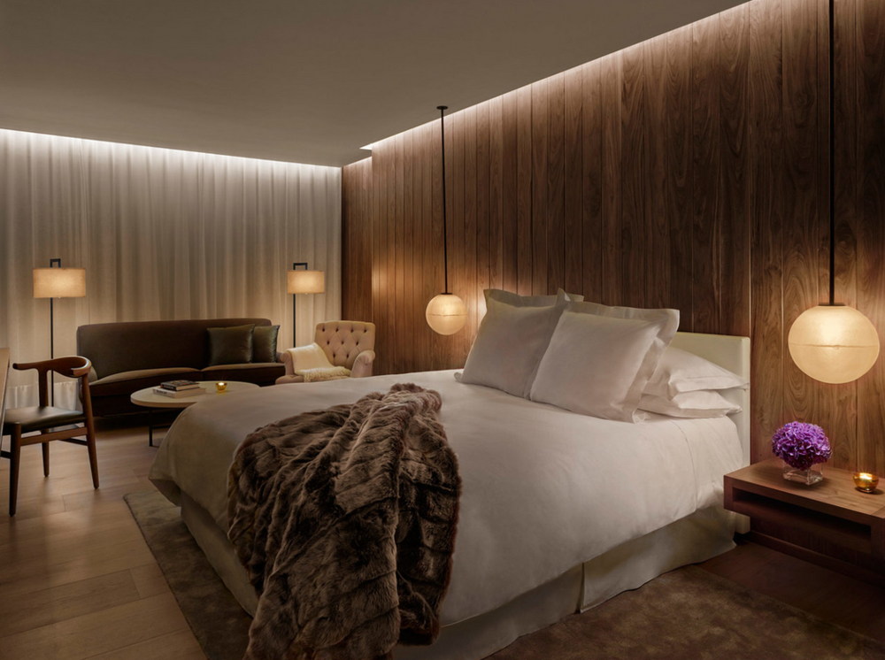 A luxe suite at The London Edition Hotel.