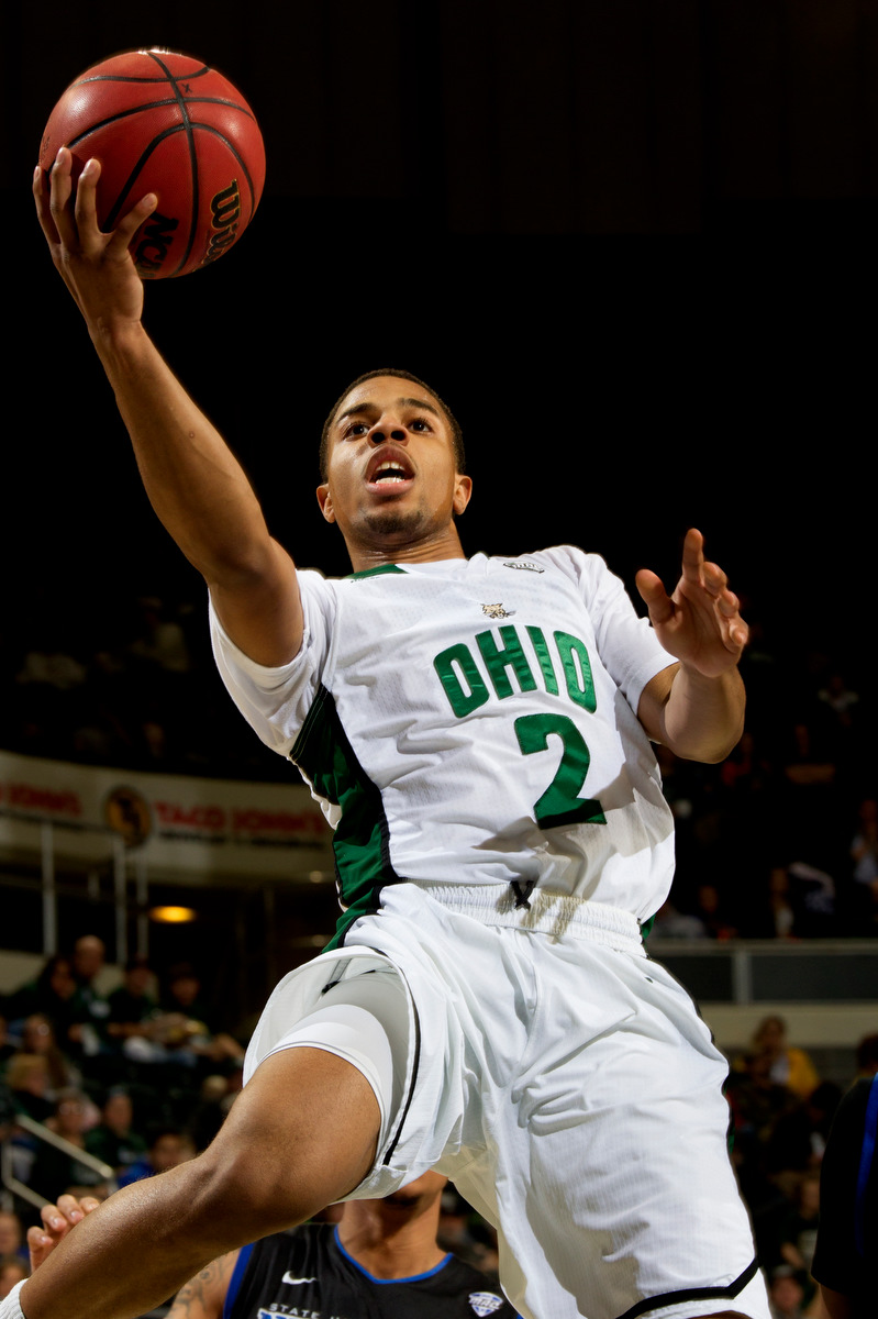 Ohio Bobcats guard Jaaron Simmons (2) scores for the Bobcats. Simmons would go on to receive a career-high 31 points during the game.