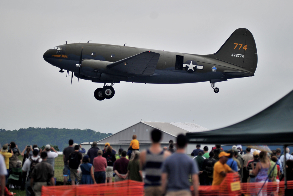 """""""The Tinker Belle"""" takes off at the World War II Weekend in Reading, PA, on June 3, 2016. (Reading Eagle: Sarah Stier)"""