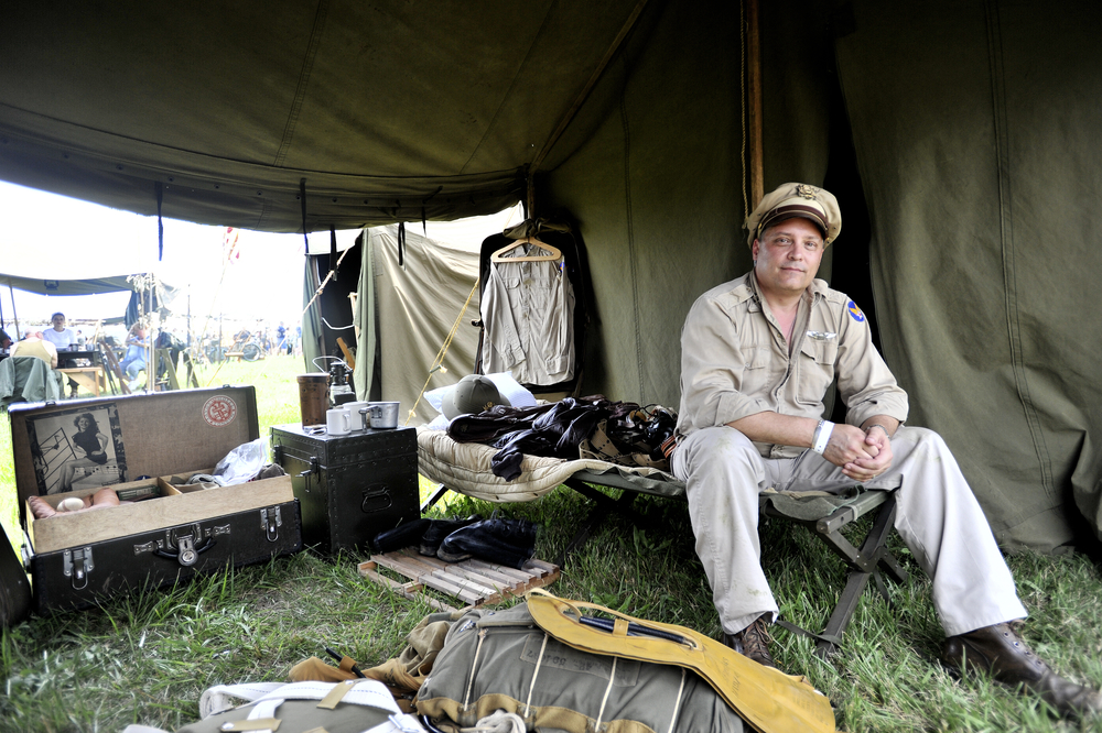 Dave Dannegger poses for a portrait in his reenactment tent at the World War II Weekend in Reading, PA, on June 4, 2016. (Reading Eagle: Sarah Stier)