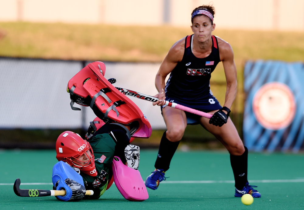 Goalkeeper Jackie Briggs of Robesonia dives to stop India from scoring at the USA National Field Hockey Team's scrimmage against India at Spooky Nook in Manheim, PA, on July 20, 2016. Briggs, a native of Berks County, will be traveling to Rio de Janeiro as part of the USA Field Hockey Olympic Team. (Reading Eagle: Sarah Stier)