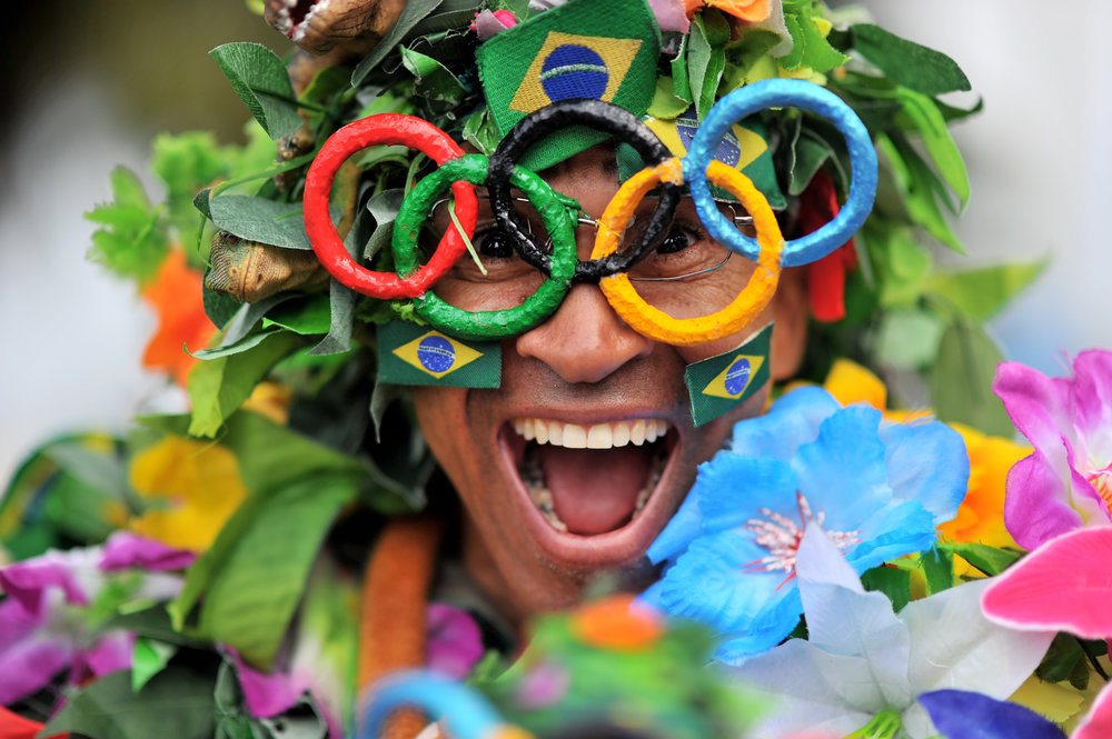 José Geraldo Da Silva celebrates his Olympic spirit at Copacabana Beach in Rio de Janeiro, Brazil, on August 7, 2016. (Sarah Stier | Ball State at the Games)