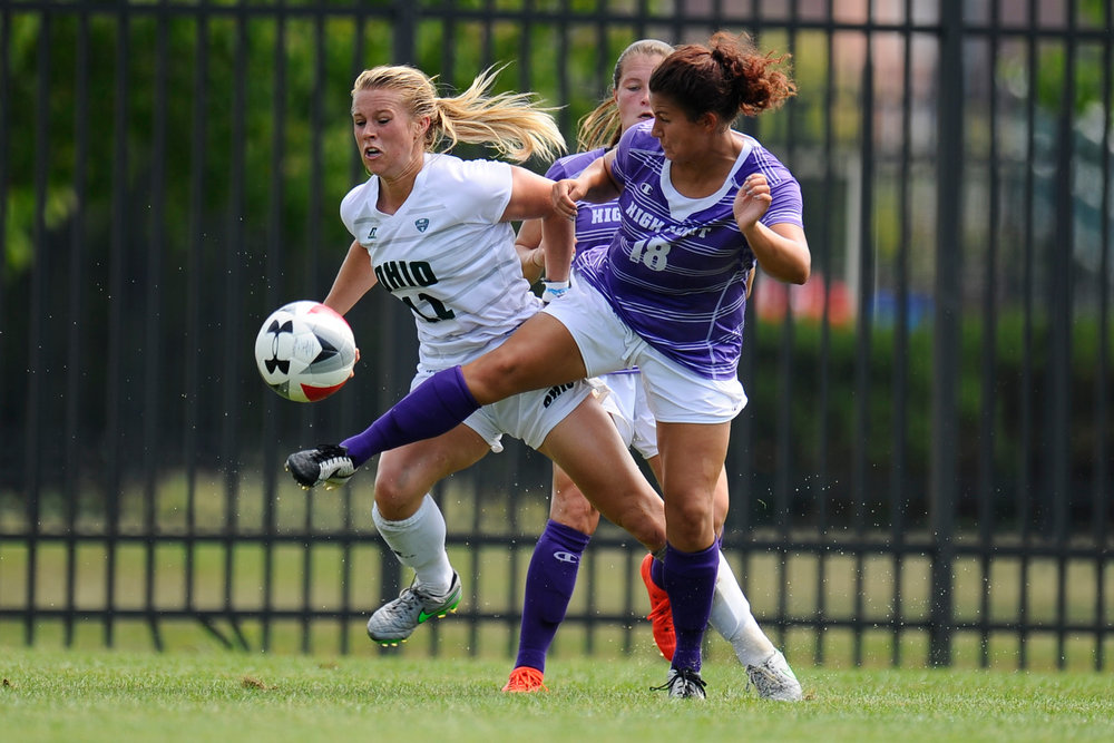 Sophomore defender Mikaela McGee of Mason, Ohio, fights off a player from High Point University during the Bobcats' game against High Point on August 28, 2016. The Bobcats lost in overtime.