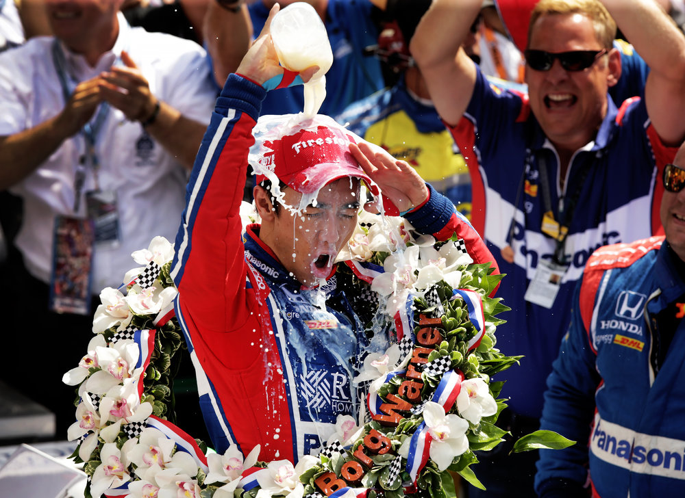 """Andretti Autosport IndyCar driver Takuma Sato (26) celebrates winning the 101st running of the Indianapolis 500 at Indianapolis Motor Speedway on Sunday, May 28, 2017. After becoming the first Japanese driver to win the Indy 500, Sato said, """"This is like, the best win in my life in this moment. I still cannot believe it."""""""