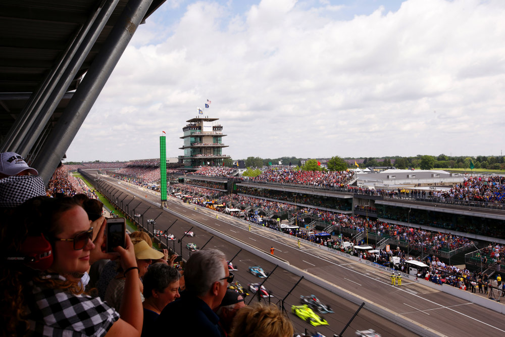 The green flag is waved at the 101st running of the Indianapolis 500 on May 28, 2017.