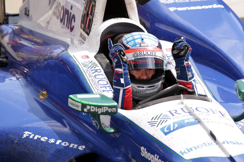 Andretti Autosport IndyCar driver Takuma Sato rolls into Victory Circle after his 2017 Indy 500 win at Indianapolis Motor Speedway on Sunday, May 28, 2017. This was his first Indy 500 win.
