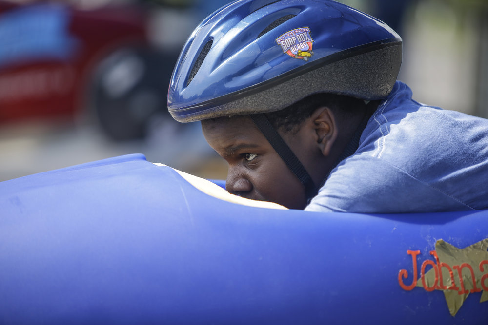 Johnathan Taylor, 10, eyes the finish line from the top of Wilbur Shaw Derby Hill in Indianapolis on June 3, 2017. Taylor was competing in the 15th Annual Mayor's Cup.