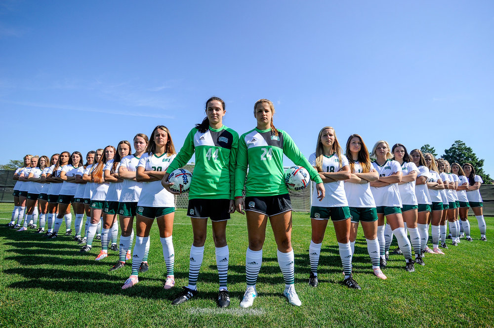 Ohio Women's Soccer poses for a photo, ready to defend their field against this year's opponents.
