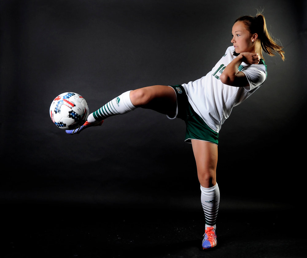 Freshman Sara Kattainen gives the ball a nasty kick during Ohio Soccer's photo day.