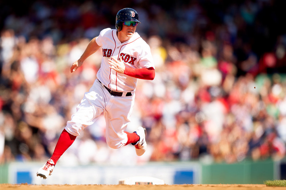 Boston Red Sox outfielder Brock Holt rounds second base during the game against the Cleveland Indians at Fenway Park in Boston, Massachusetts on Thursday, August 23, 2018.
