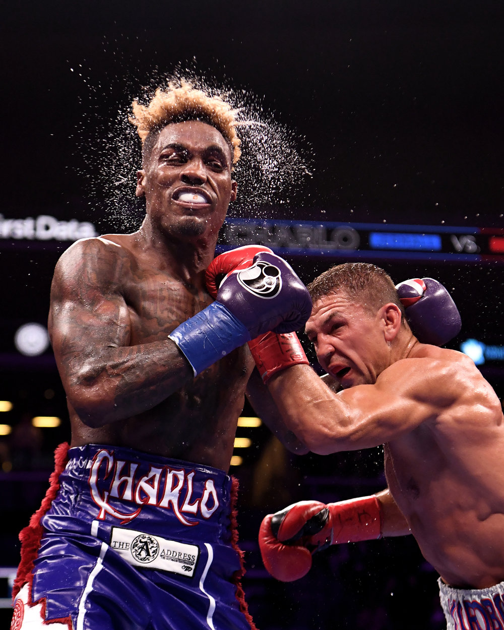 Matt Korobov punches Jermall Charlo during their WBC Interim Middleweight Championship bout at Barclays Center on December 22, 2018 in the Brooklyn borough of New York City.