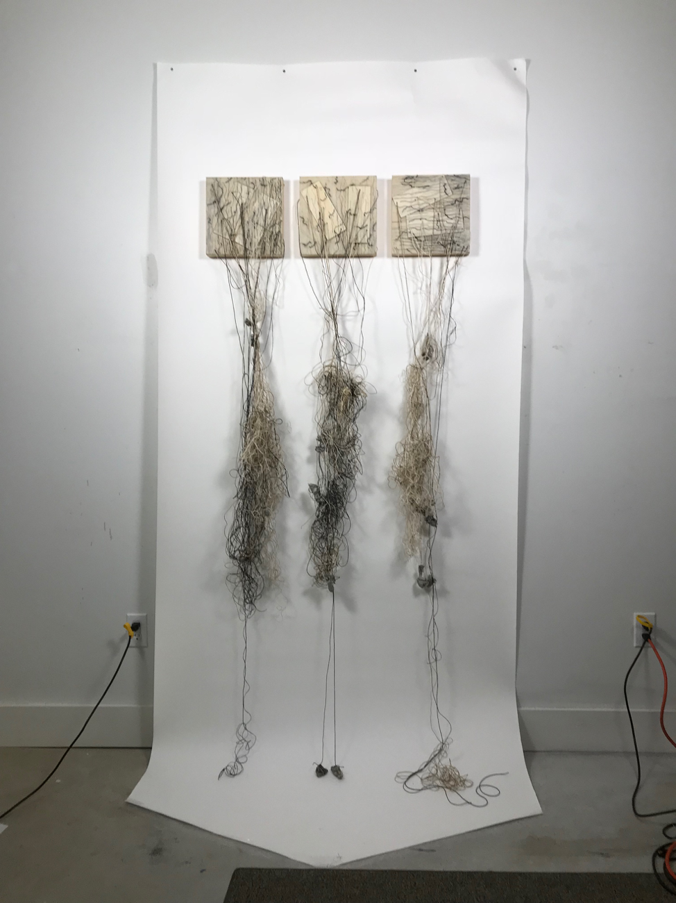 "One of several new series as yet untitled: Encaustic, balsa wood, graphite, tin ingots, oil stick, jute and twine on 10"" x 10"" cradled birch panel"