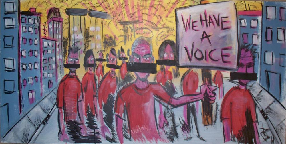 """We Have a Voice""  Collaborative painting with Jack Bram 2011"