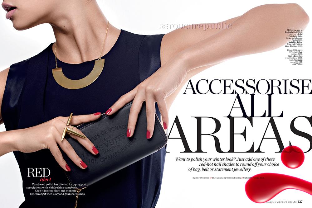 Louis Vuitton purse & Zara top, accessorised with OPI nail colour. Photo: Garreth Barclay, Retouching: RetouchRepublic.com. Women's Health South Africa, June 2014