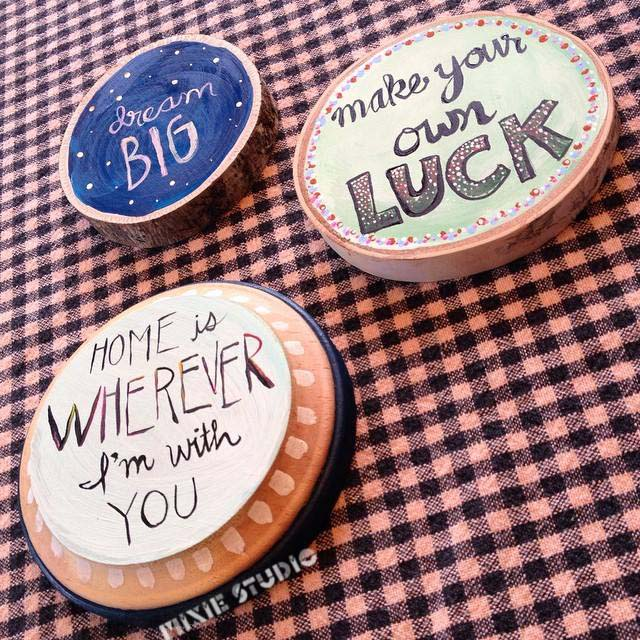 Hand-lettered Quotes on Plaques by Sara