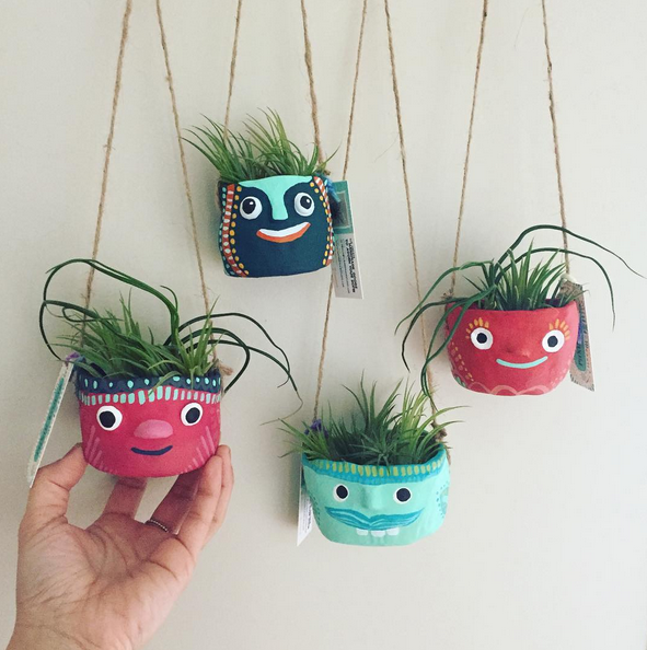 These Beast Buddy hanging planters are slightly larger than our signature Beast Buddies. They can hold a mix of 3-5 small Tillandsia air plants and can hang on the wall or from a hook anywhere in your home.