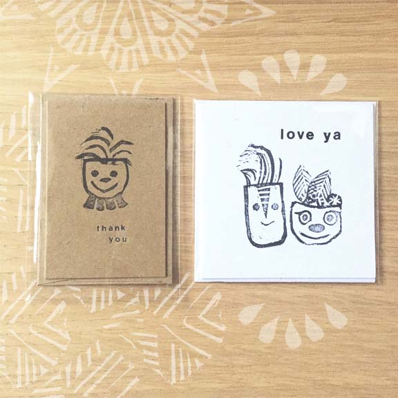 Each Mini Card is approximately 2x3 inches tall or 3x3 Inches. The cards and envelope are printed with our original hand carved stamp designs in black ink. The cards are blank inside for you to write or doodle a personable note to that special someone. Great as art prints, too!
