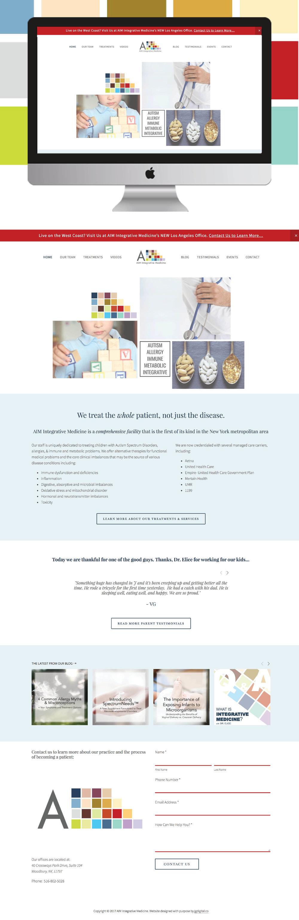 Physician Website | Custom Squarespace Website Design for AIM Integrative Medicine by jgdigital.co