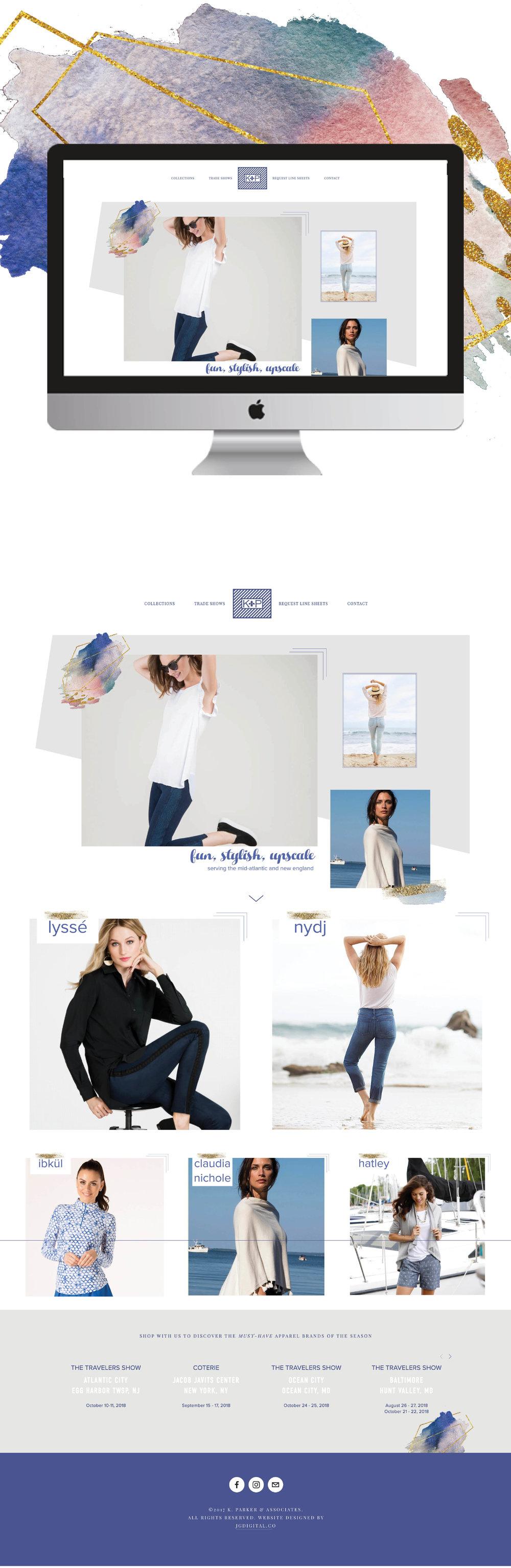 Fashion Apparel Website | Custom Squarespace Web Design for K. Parker & Associates by jgdigital.co