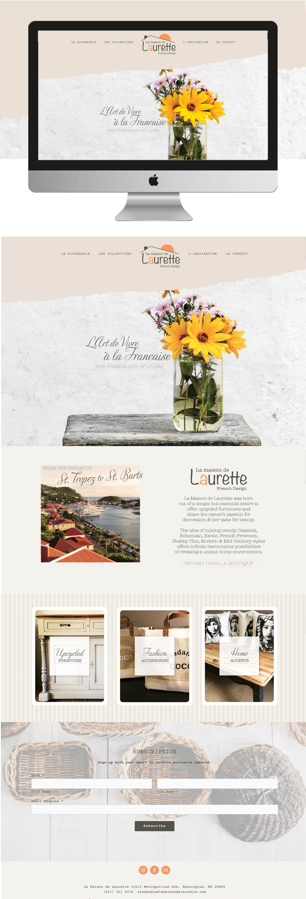 Home Decor and Boutique Squarespace Design for La Maison de Laurette by jgdigital.co