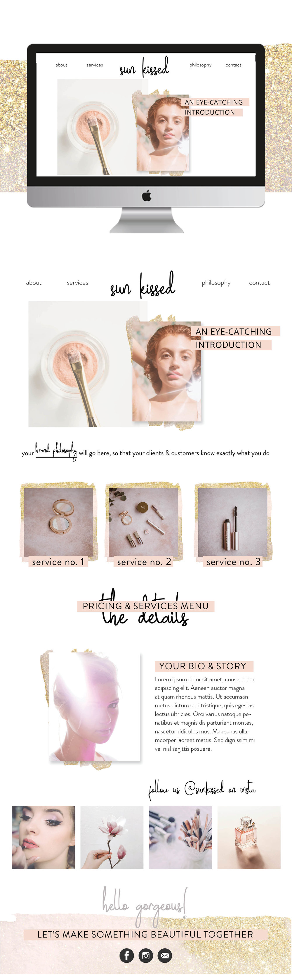 Custom Beauty Blogger Squarespace Template for Sunkissed Beauty by jgdigital.co