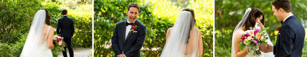 Groom's reaction to seeing his bride during the first look.