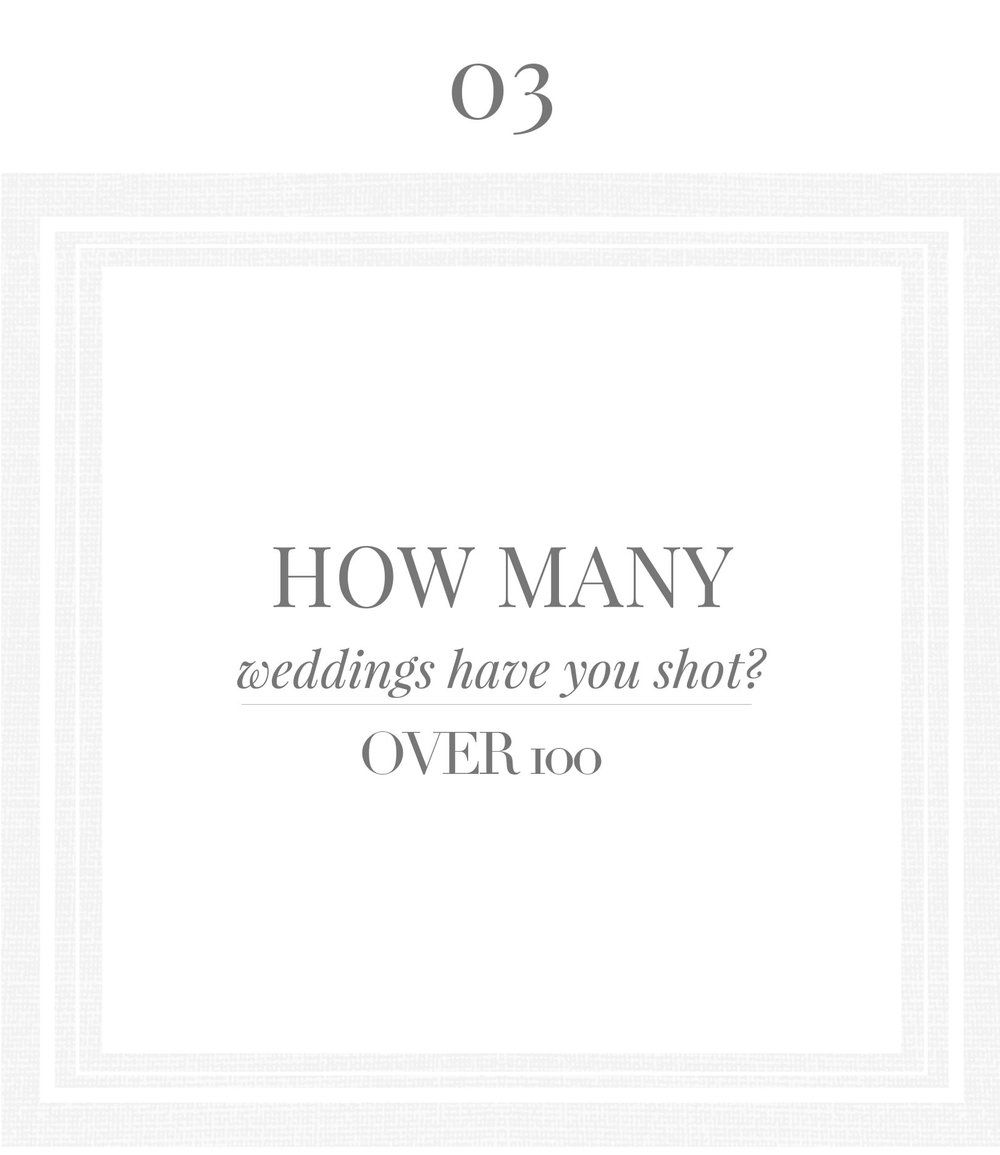 How many weddings have you shot? Over 100