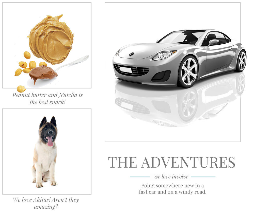 Peanut butter and Nutella is the best snack! We love Akitas! Aren't they amazing? The adventures we love involve going somewhere new in a fast car and on a windy road.