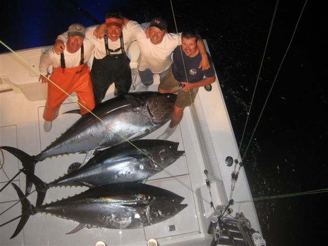 Enormous cockpit space shown here with three nice Giant Bluefin taken aboard a Cabo 45 Express via John Kusler and Crew.