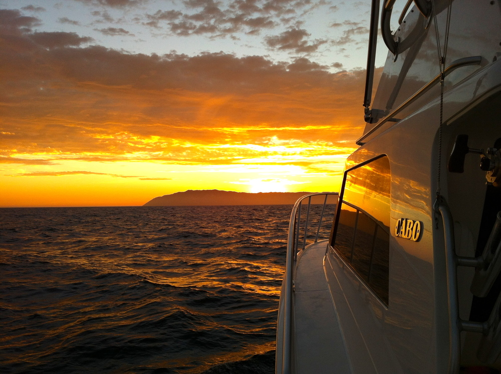 """Heading to Catalina"" Cabo Yacht sunrise - Purchase a Cabo Yacht for sale from Kusler Yachts!"