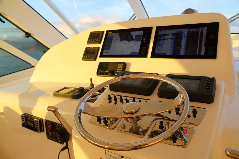 Bridge layout Cabo Yachts 44HTX sold by Kusler Yachts