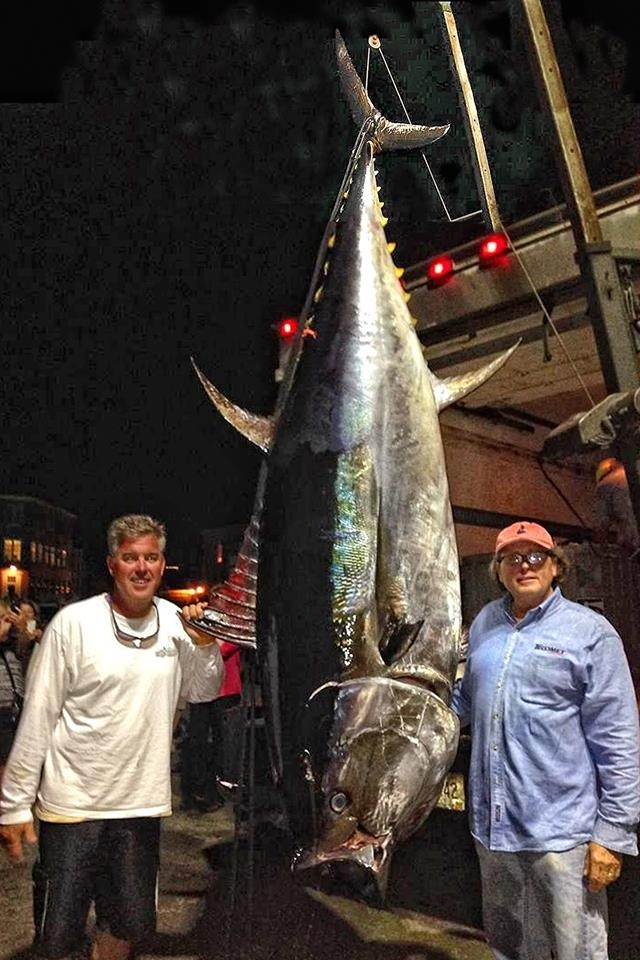 Captain John Kusler and Captain Bob Lynch with a nice Giant Bluefin taken aboard Chumlord Charters.