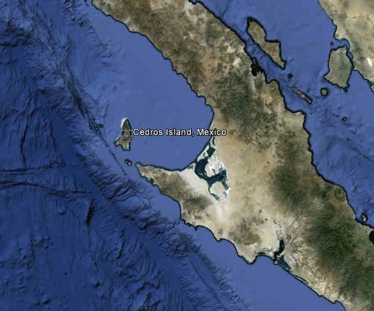Cedro's Island 28.1828 N, 115.2178 W located approximately 260 miles South of San Diego California
