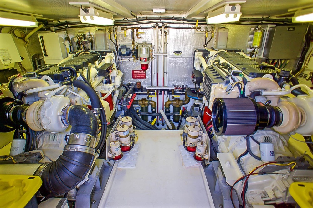 Engine room photo 61' Knight & Carver For Sale by Kusler Yachts San Diego Yacht Brokers