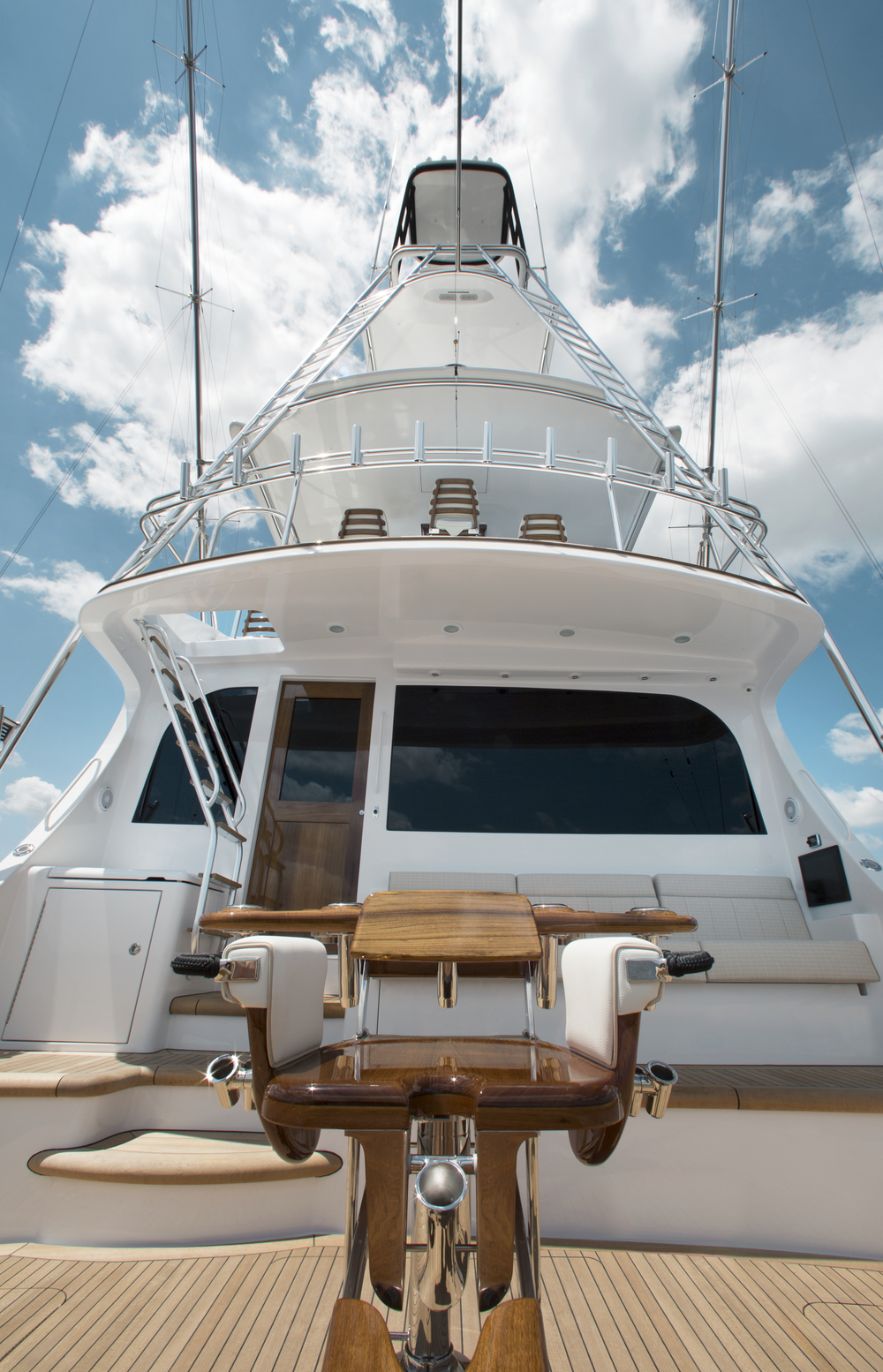 A view from the cockpit Hatteras GT70 Convertible