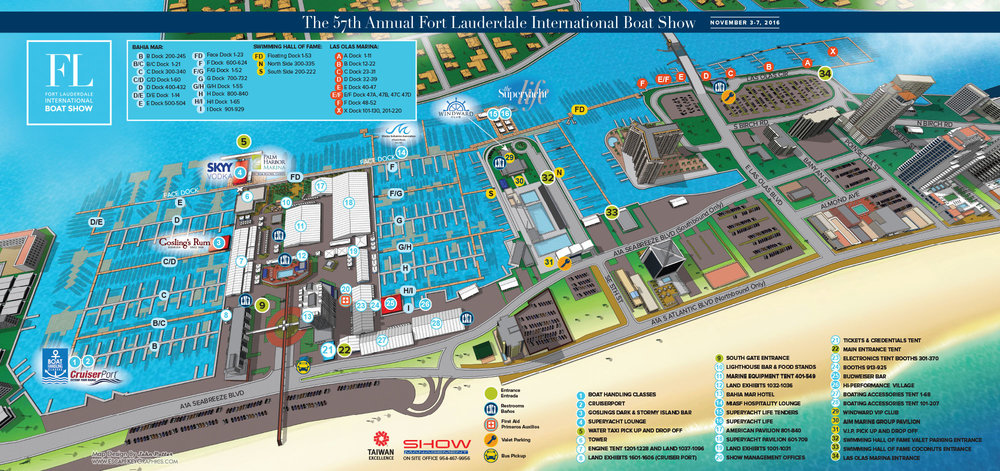 For Lauderdale Boat Show Map